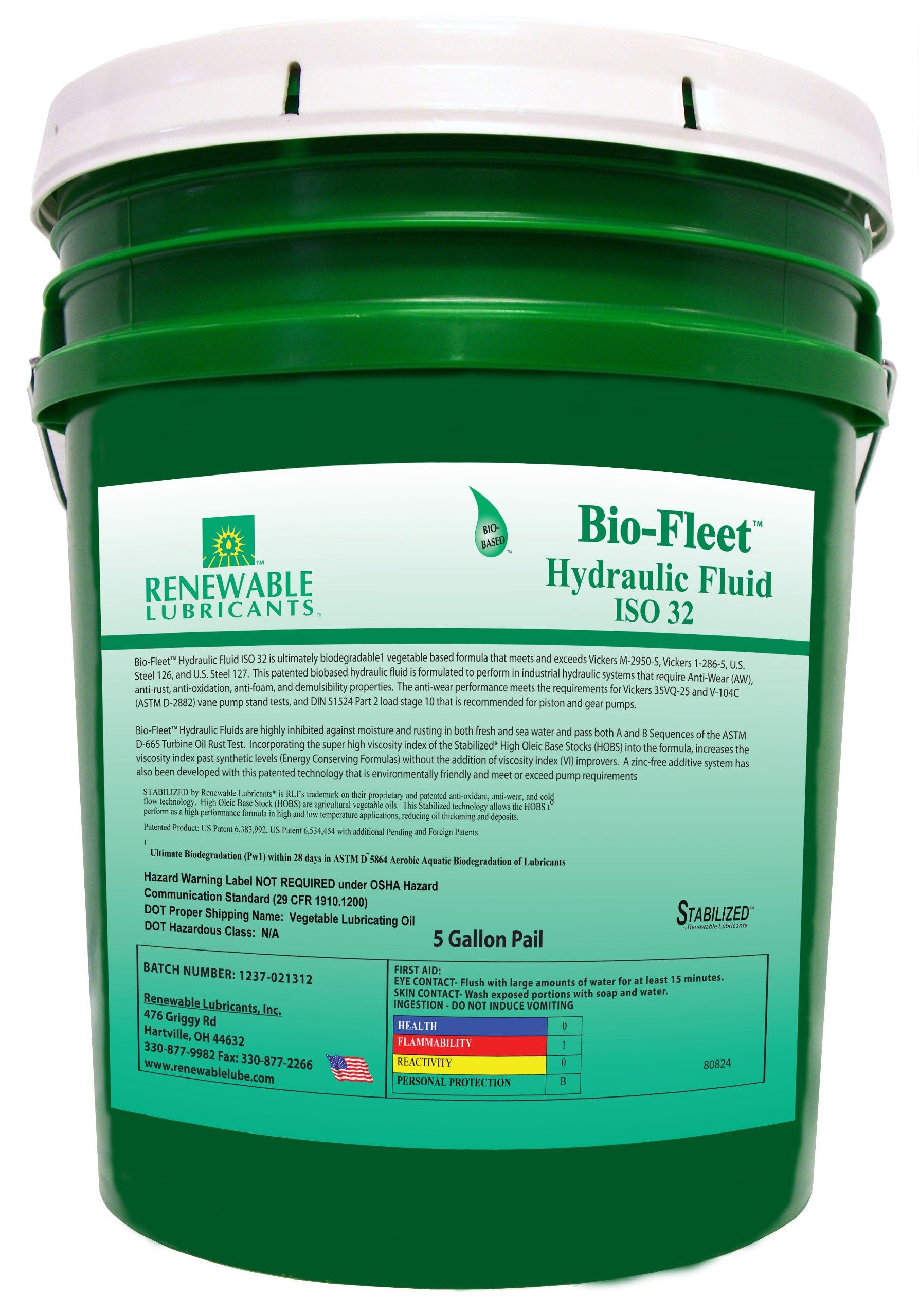 Renewable Lubricants Bio-Fleet ISO 32 Hydraulic Lubricant, 5 Gallon Pail by Renewable Lubricants