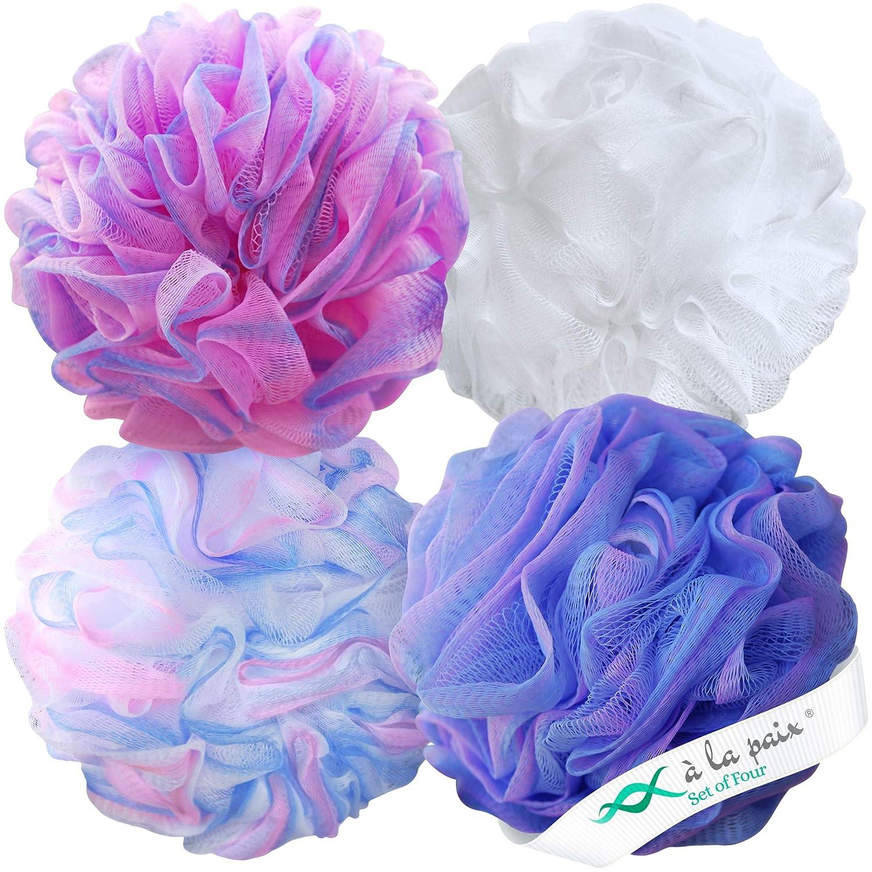 Loofah Bath Sponge XL 75g Set of 4 Pastel Colors by À La Paix - Soft Exfoliating Shower Lufa for Silky Skin - Long-Handle Mesh Body Poufs- Women and Men's Luffas - Soft Texture - Full Cleanse & Lather: Beauty