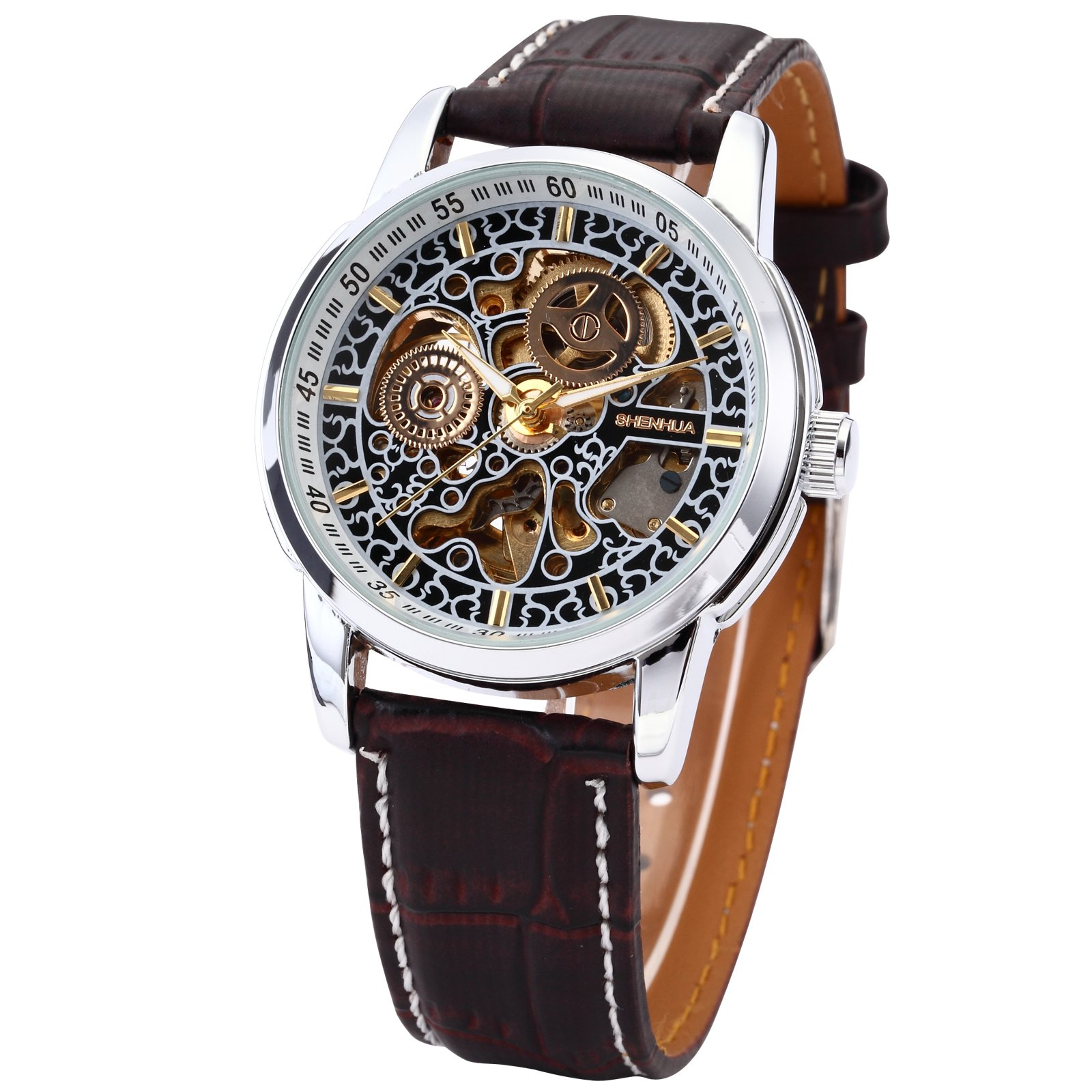 Lovely Menu0027s Auto Self Wind Mechanical Hollow Engraving Brown PU Leather Strap  Steampunk Bracelet Wrist Watch