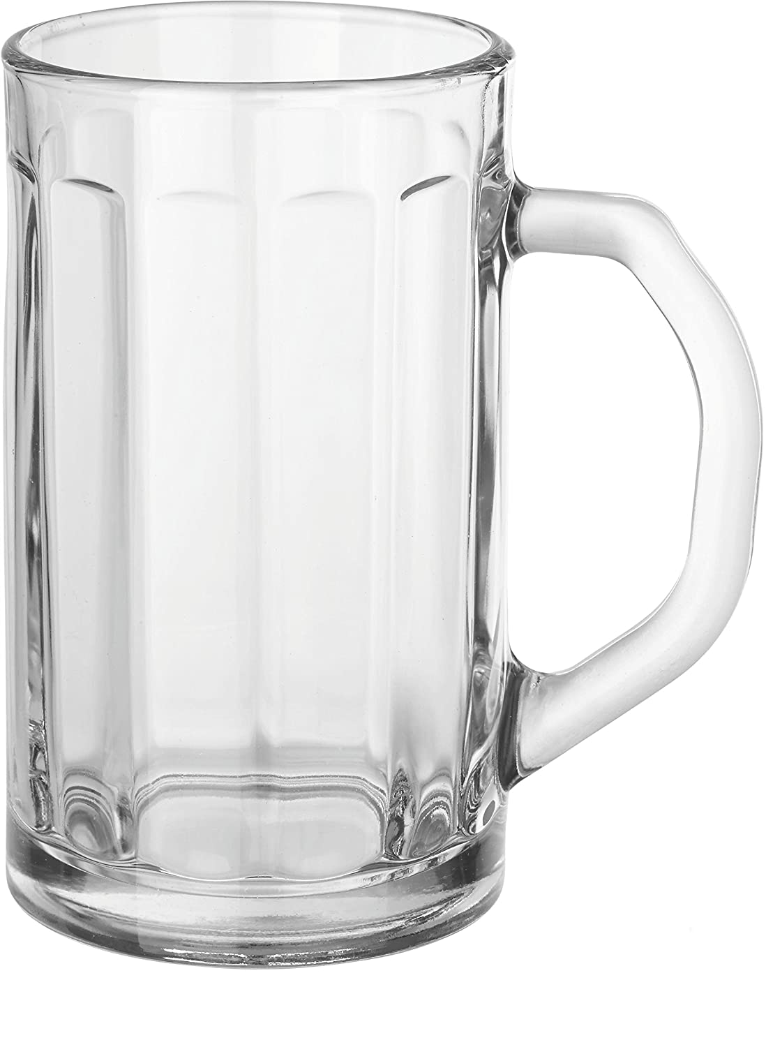 Circleware 55673 Glass Beer Mugs with Handle, Set of 2 Heavy Base Fun Entertainment Glassware Beverage Drinking Cups for Water, Wine, Juice and Bar Dining Decor Novelty Gift, 16.4 oz, Downtown Pub 2pc