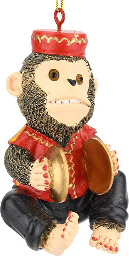 Toy Wind-up Monkey Playing Drum and Symbols Vintage Clear Display Case