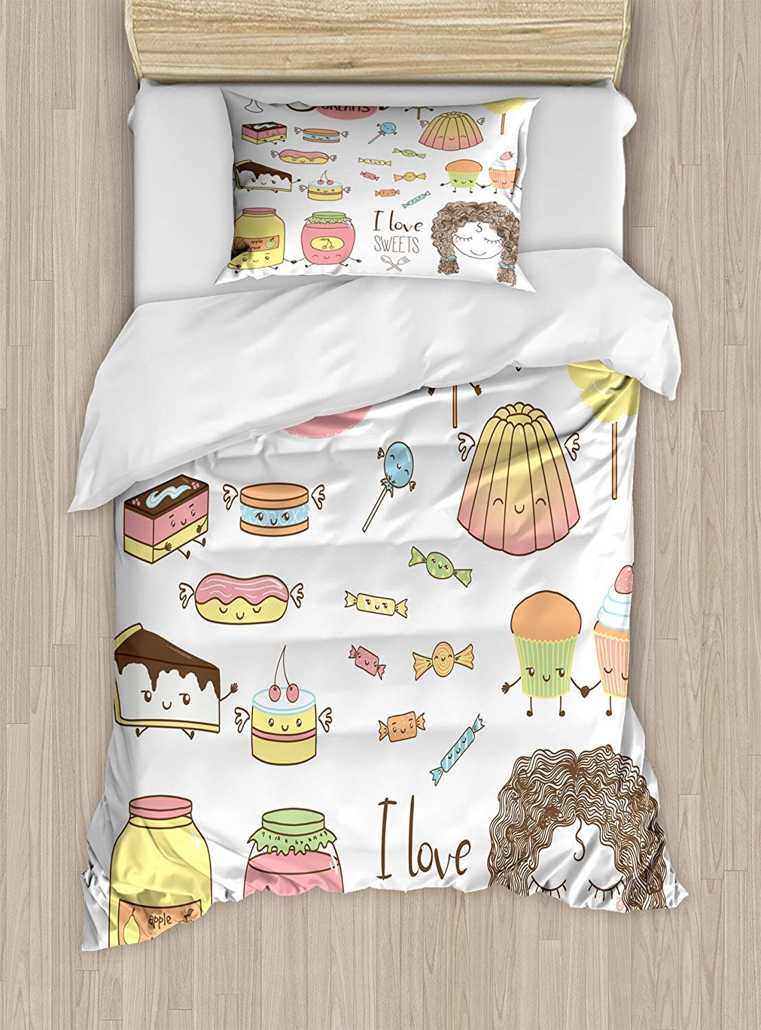Twin XL Extra Long Bedding Set,Sweet Dreams Duvet Cover Set,Teen Girl Dreaming About Sweets Food Doodle Characters Kawaii Cartoon Faces,Cosy House Collection 4 Piece Bedding Sets