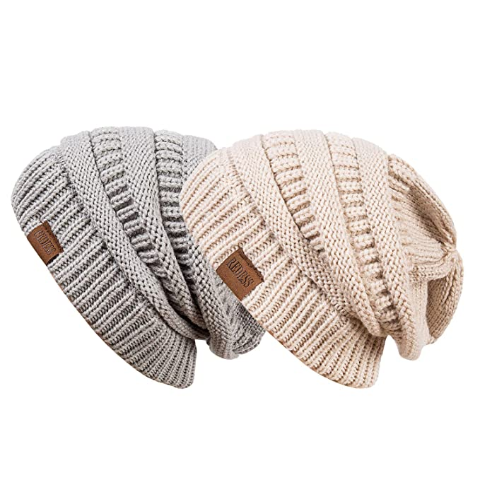 0ce8beb5fd6 REDESS Slouchy Beanie Hat for Men and Women 2 Pack Winter Warm Chunky Soft  Oversized Cable