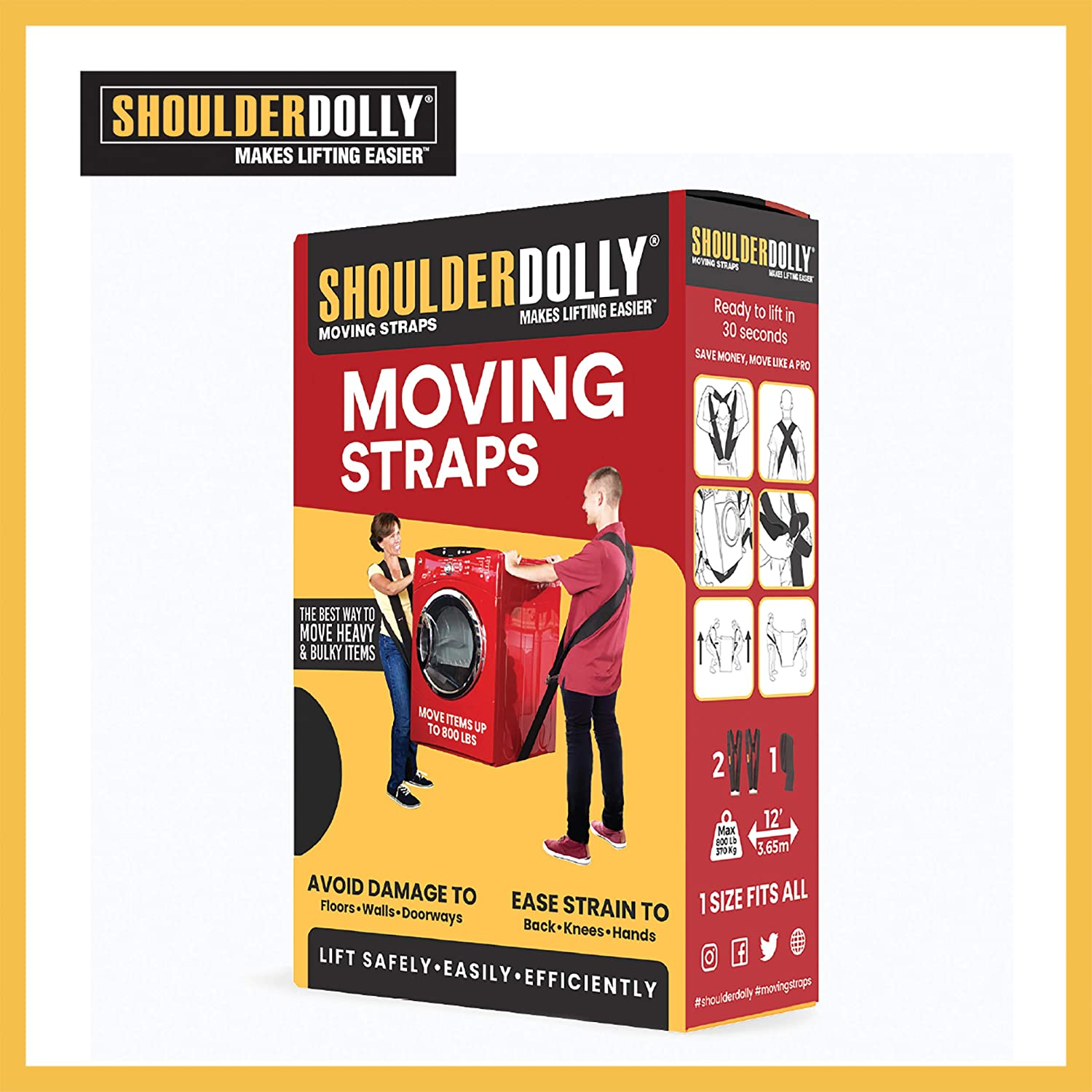 Shoulder Dolly Moving Straps - Lifting Strap for 2 Movers - Move, Lift, Carry, And Secure Furniture, Appliances, Heavy, Bulky Objects Safely, Efficiently, More Easily Like The Pros - Essential Moving Supplies - LD1000