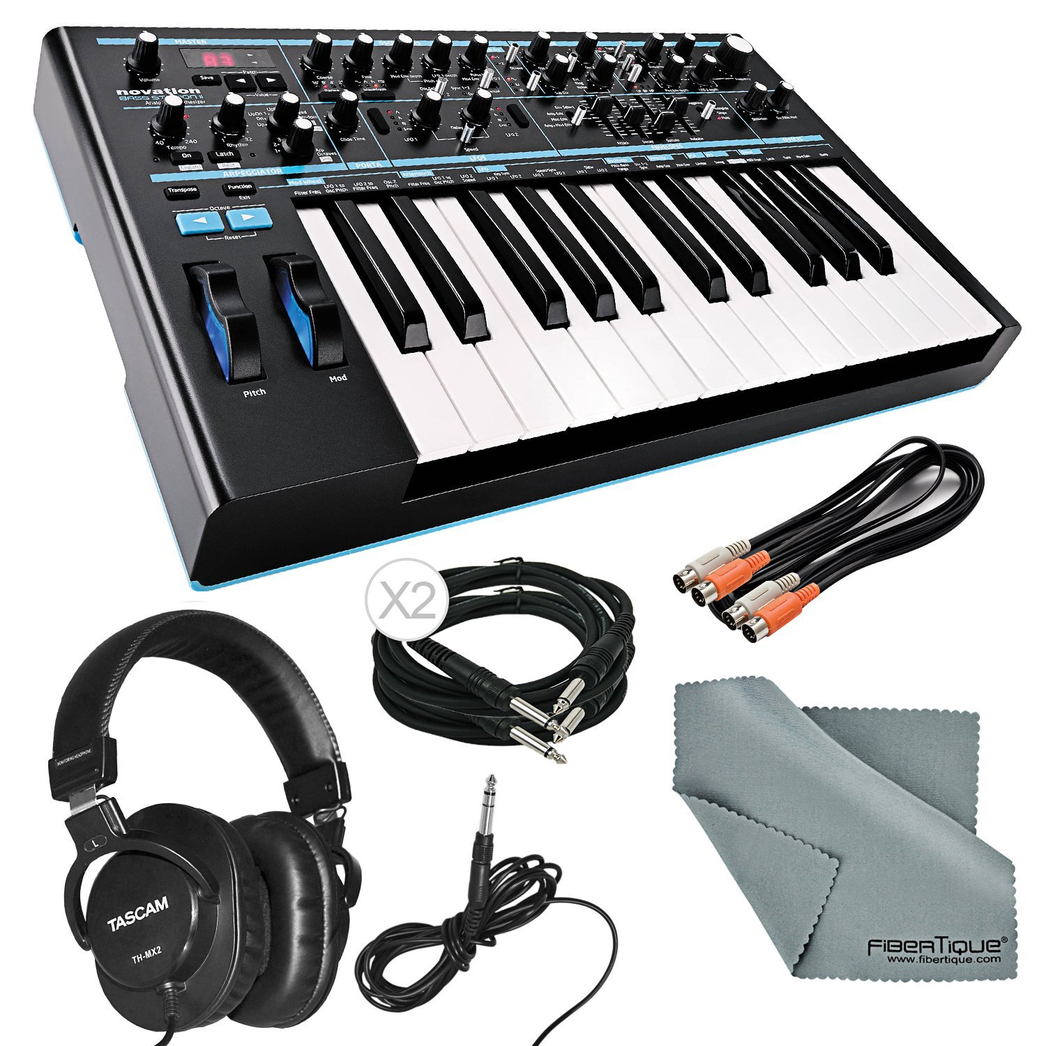 Novation Bass Station II Monophonic Analog Synthesizer and Bundle with Cables + Tascam Headphones + Fibertique Cleaning Cloth by Photo Savings