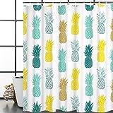 Bathroom Shower Curtain Blue Yellow Pineapple Shower Curtains Fabric Shower Room Curtain Durable Waterproof Home Bath Curtain Sets with 12 Hooks