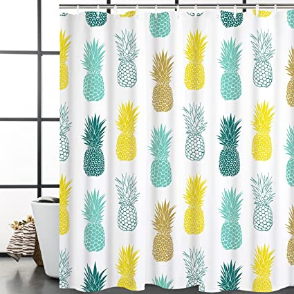 Bathroom Shower Curtain Blue Yellow Pineapple Curtains Fabric Room Durable Waterproof Home Bath