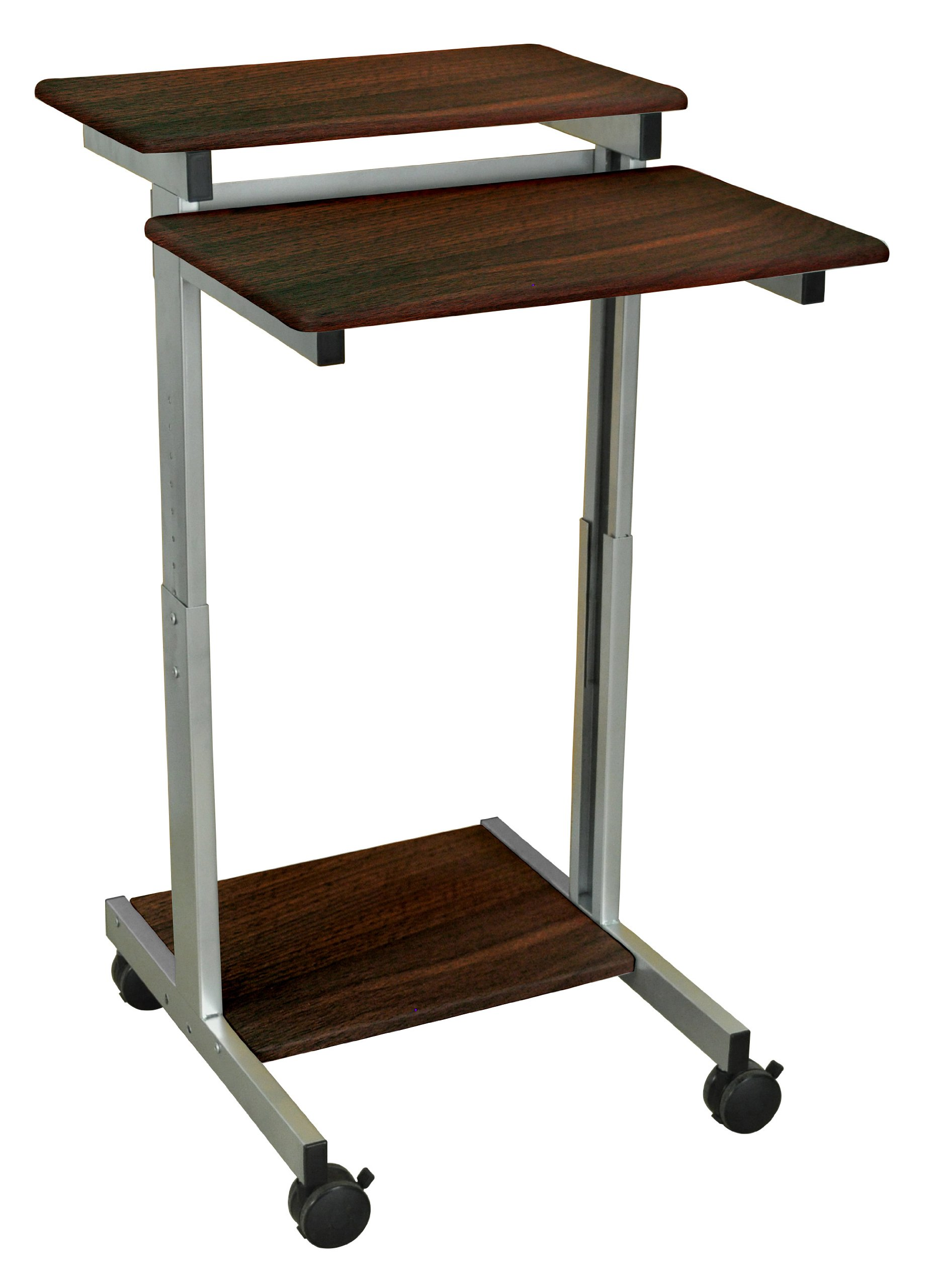 DMD Stand-Up Desk, Mobile Audio Visual (AV) Presentation and Workstation for Laptops, Tablets and Projectors or Data Entry, Walnut Finish