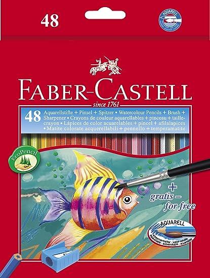 Faber Castell 114448 - Estuche de cartón con 48 ecolápices acuarelables de colores y pincel: Amazon.es: Oficina y papelería