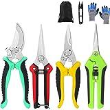 Topbooc 5 Pack Garden Pruning Shears Stainless Steel Blades, Handheld Scissors Set with Gardening Gloves,Heavy Duty Garden By