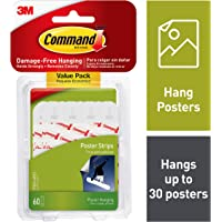 Command Poster Hanging Strips Value Pack, Small, White, 60-Strips (17024-60ES)