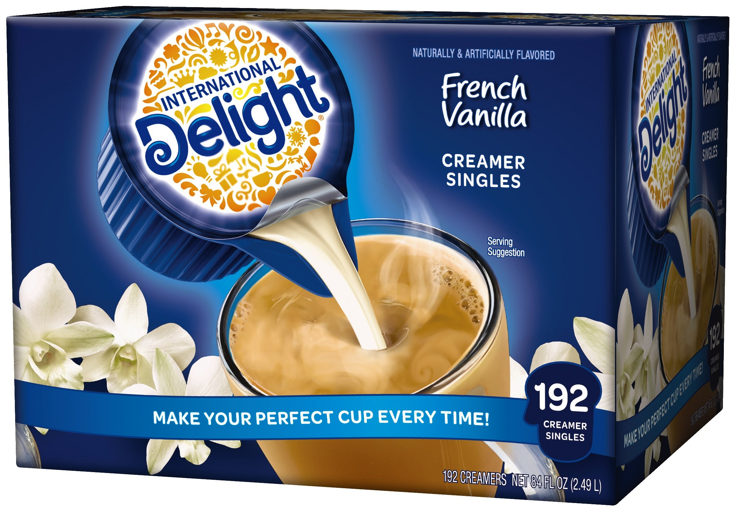 International Delight, French Vanilla, Single-Serve Coffee Creamers, 192 Count, Shelf Stable Non-Dairy Flavored Coffee Creamer, Great for Home Use, Offices, Parties or Group Events