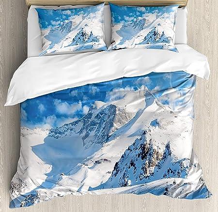 Copripiumino Paesaggio Invernale.Set Biancheria Da Letto In 3 Pezzi Mountain Set Copripiumino