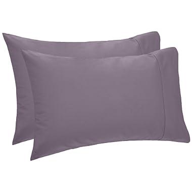 Pinzon 400-Thread-Count Egyptian Cotton Sateen Hemstitch Pillowcases - King, Pale Purple (Set of 2)