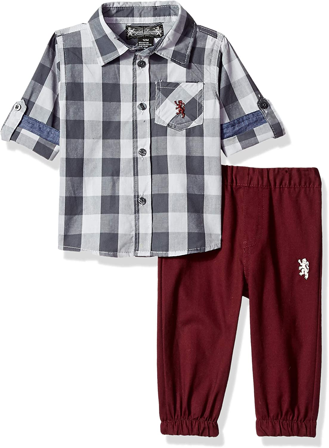 English Laundry Baby Boys Woven Bodysuit and Jogger Set