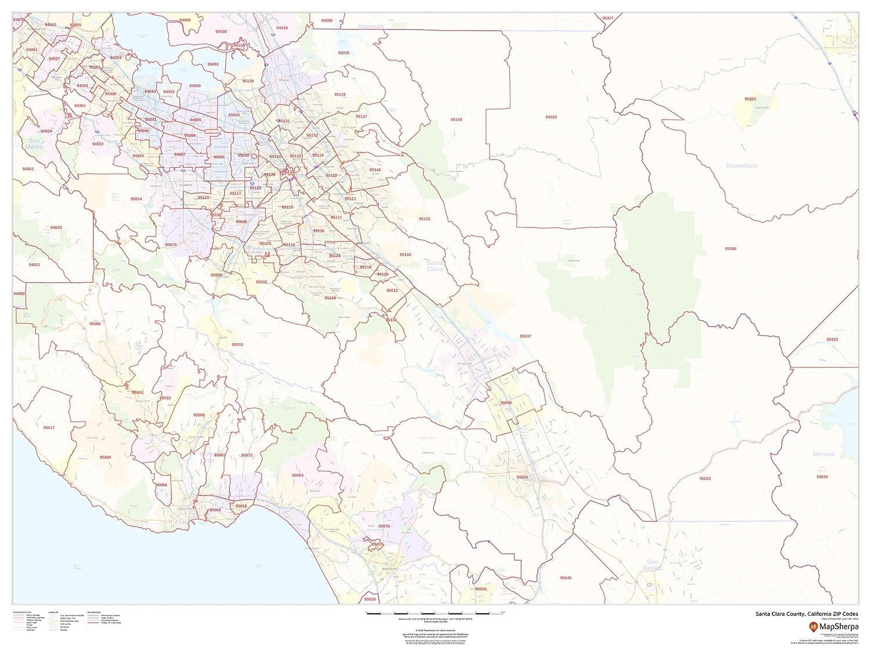 Zip Code Map Santa Clara County.Amazon Com Santa Clara County California Zip Codes 48 X 36