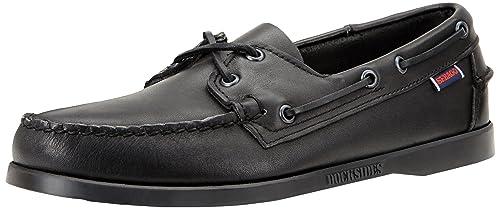 Zapato Liteside Two Eye Boat para hombres, cuero negro, 8.5 M US