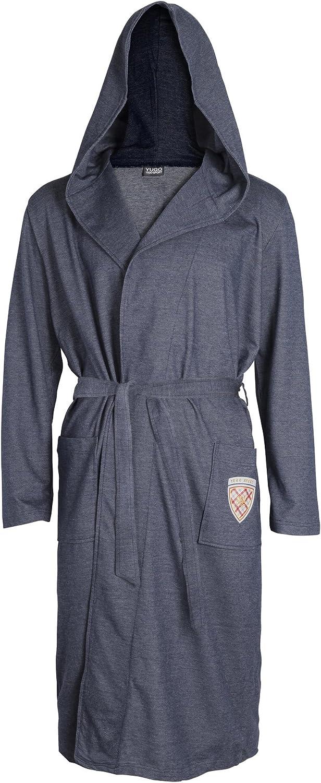Yugo Sport Mens Robe Hooded - Denim Knit Kimono Spa Men Bathrobe