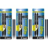 Pilot FriXion Clicker Retractable Erasable Gel Pens, Fine Point, Black Ink, 6-Pack (31460) with 6 Black Ink Refills