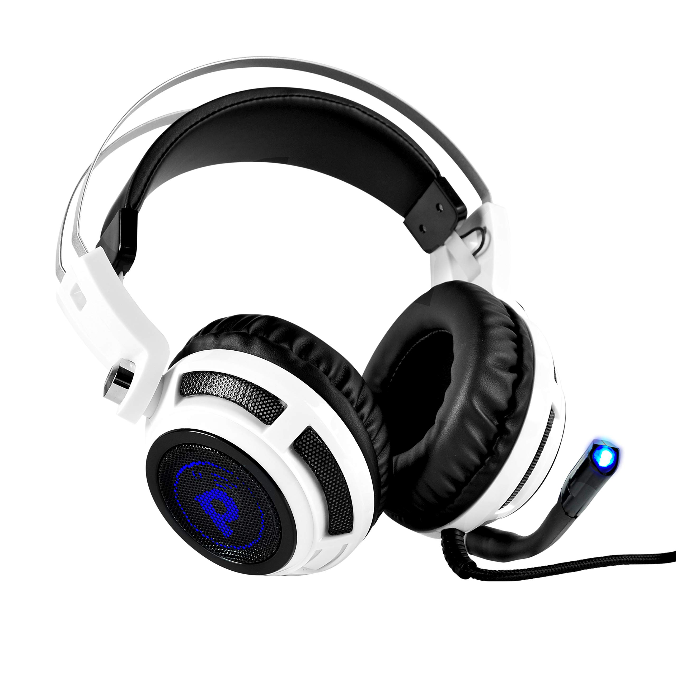Pyle PC Wired Gaming Headphones - Professional Gamer USB Stereo Headset and Microphone for Windows Mac Computer Video Games - Braided Cable and 7.1 Virtual Surround Sound Audio and Mic Set - PGPHONE80
