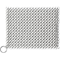 "Cast Iron Cleaner Chainmail Scrubber 8""x8"" Stainless Steel 316L for Kitchen Cookware Cast Iron Pan Pre-Seasoned Pan…"