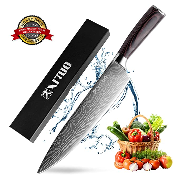 Chef Knife - Professional 8 inches High Carbon Stainless Steel Kitchen Knife with Ergonomic Handle, Ultra Sharp, Anti Corrosion for Slicing, Chopping ...