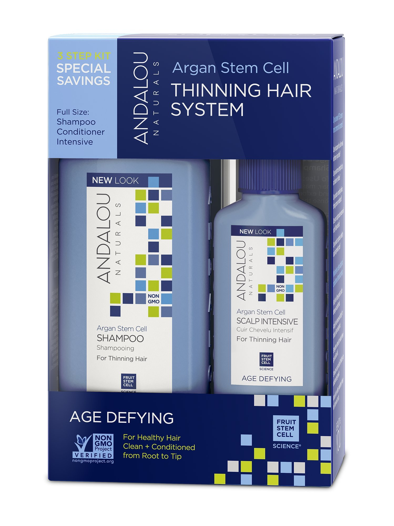 Andalou Naturals Age Defying Hair Thinning Treatment System, 3 Piece Kit, Thinning Hair Treatment with Conditioner, Shampoo, Scalp Treatment