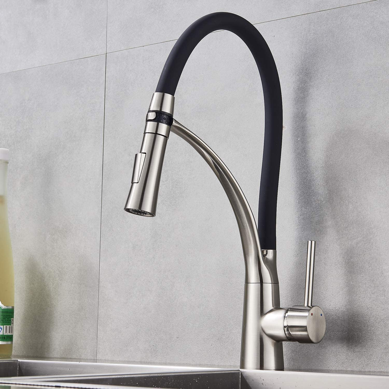 Suguword Upgrade Traditional Black Kitchen Sink Mixer Tap Dual Handles Elegant Ceramic 360/° Rotation Spout Kitchen Tap,Solid Brass