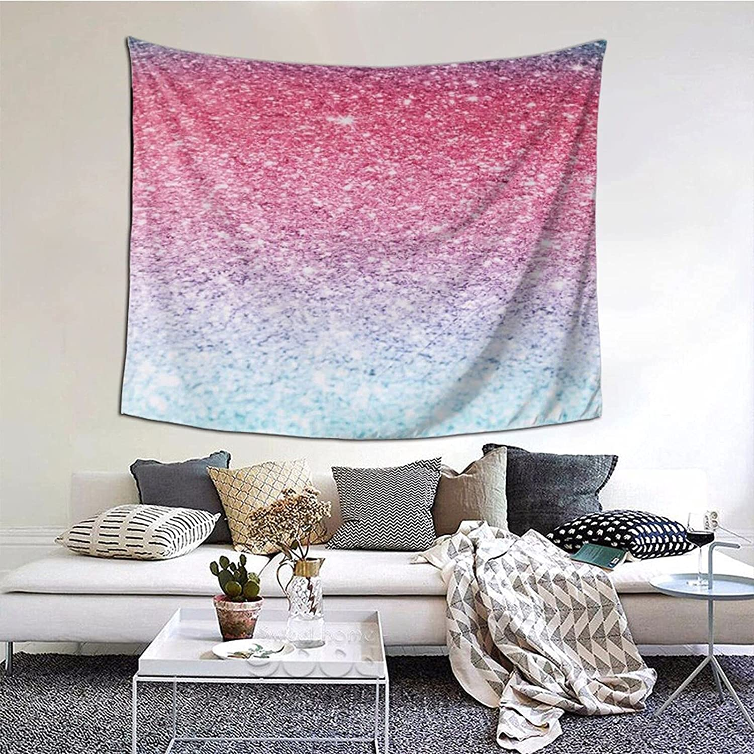Blue Pink And Purple Pastel Colors Tapestry Wall Hanging Print Tapestry,Bedroom Tapestry.Wall Hanging Dorm Decor For Living Room Bedroom,60 X 51 Inch