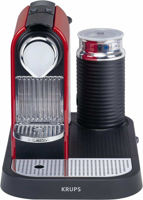Nespresso Citiz & Milk Red XN7106 Krups - Cafetera monodosis (19 bares, Preparación manual Cappuccino, Modo ahorro ...
