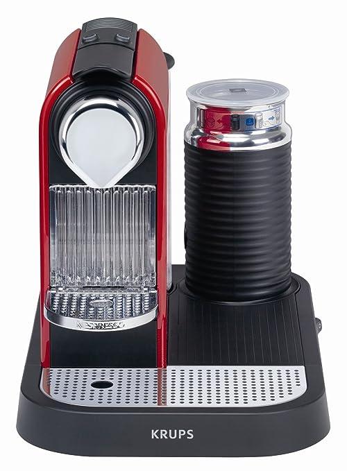 Nespresso Citiz & Milk Red XN7106 Krups - Cafetera monodosis (19 bares, Preparación manual Cappuccino, Modo ahorro energía), Color Rojo