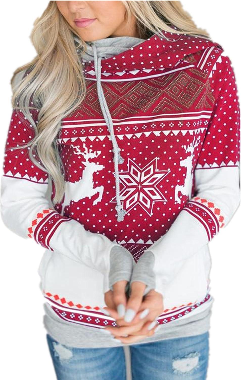 Taiduosheng Womens Holiday Season Xmas Sweatshirt Long Sleeve Patterns of Reindeer Snowman Christmas Hoodies with Pockets