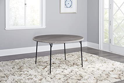 Beau Round Fold In Half Table, Light Gray Wood Grain With Black