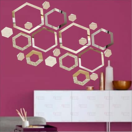 Buy BEST DECOR Shape Hexagon Silver(pack of 20)Acrylic Sticker, 3D ...