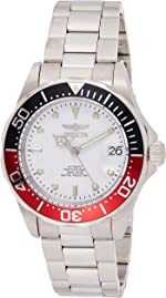 Invicta Men's Pro Diver 40mm Stainless Steel Automatic Watch, Silver/White (Model: