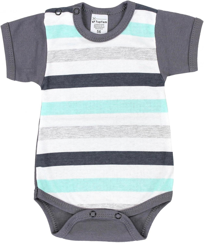 TupTam Baby Jungen Kurzarm Body Bunt mit Print 5er Pack