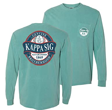 6a03ae70 Image Unavailable. Image not available for. Color: Kappa Sigma Fraternity  Greek Green Comfort Colors Long Sleeve Pocket Tee ...