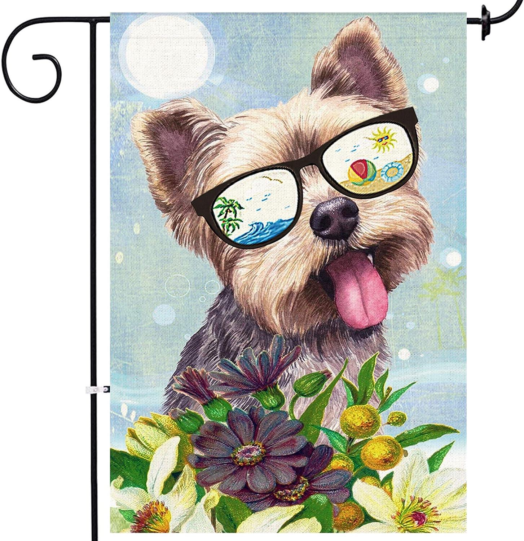 Bonsai Tree Yorkie Dog Burlap Garden Flag, Decorative Double Sided Animal Floral Yard Flag Banner 12 x 18 Prime