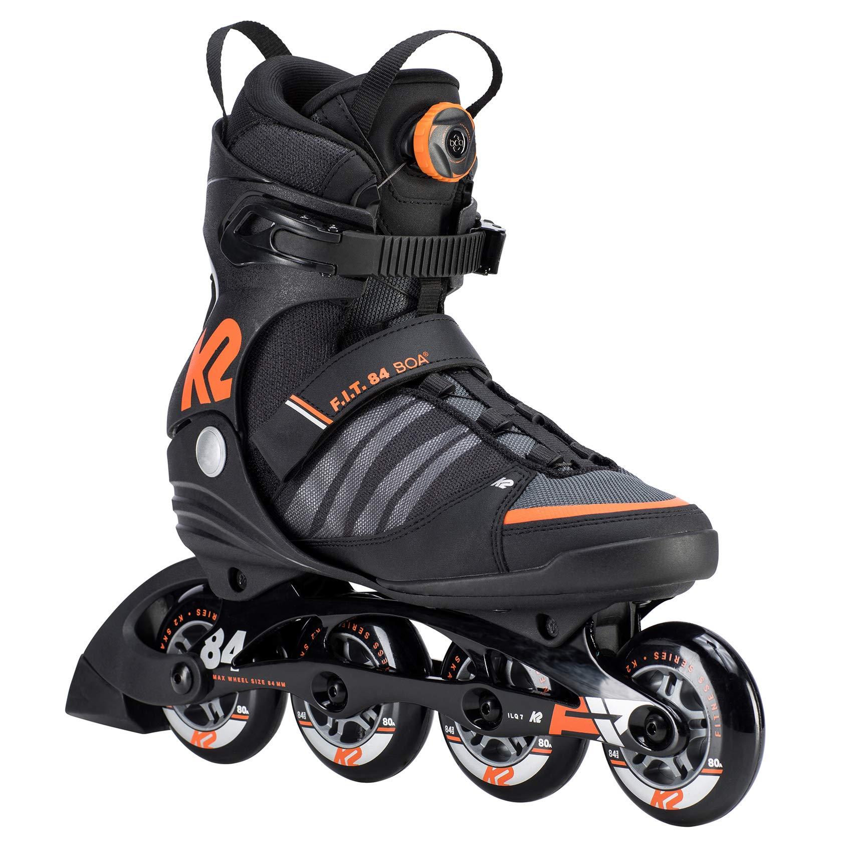 K2 Skate Mens F.I.T. 84 Boa Inline Skates, Black/Orange, 10.5