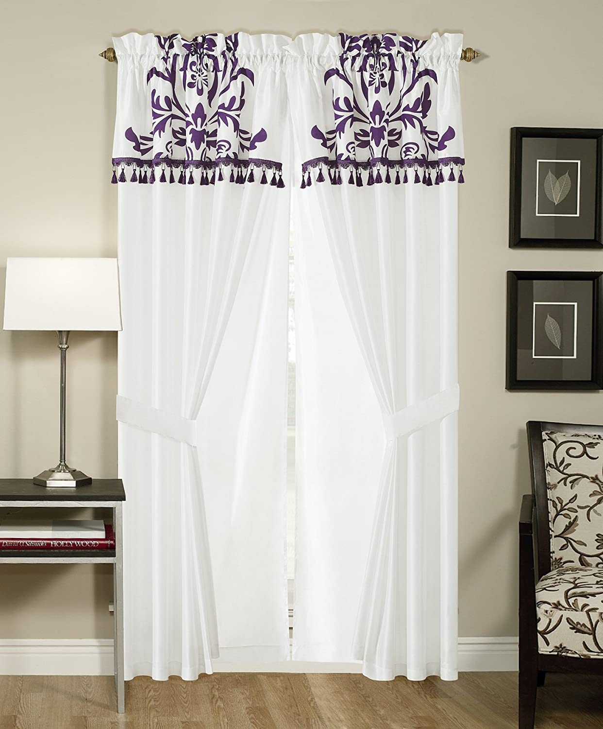 Amazon.com: Chezmoi Collection 2 Panel Purple And White Floral Window  Curtain/ Drape Set, With Valance Treatment Draperies: Home U0026 Kitchen