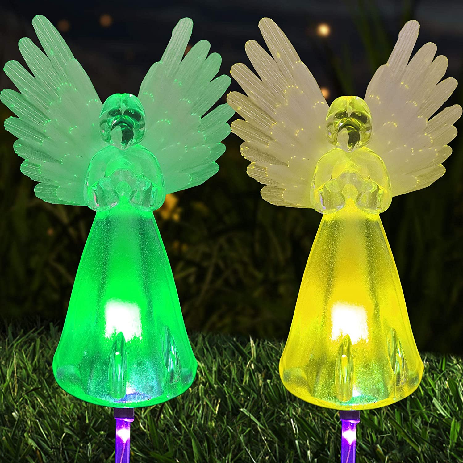 zhengshizuo 2Pcs Solar LED Outdoor Christmas Decor Christmas Lights Memorial Angel Light Garden Stake Outdoor In-Ground Lights Outdoor Cemetery Grave Angels Statue Angel Landscape Path Lights