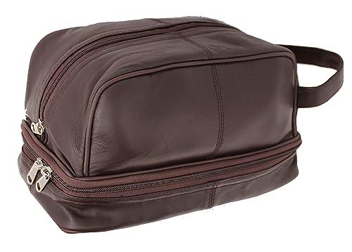 RAS, bolsa de aseo para hombre de piel auténtica, ideal para viajes o gimnasio, negro/marrón – 3530
