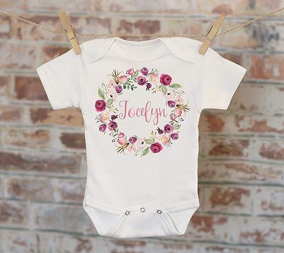 e975aaa120f Amazon.com  Pink Mint Wreath Custom Baby Onesie®