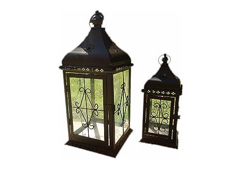 Portacandele Da Giardino : E randi lanterna portacandela 15x15x40cm; 21x21x50cm da giardino in