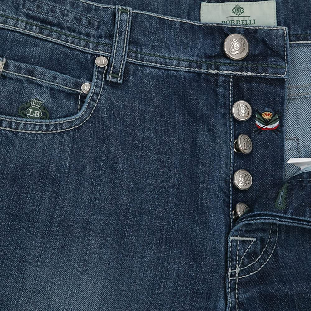 33//49 Luigi Borrelli New Denim Blue Jeans Super Slim