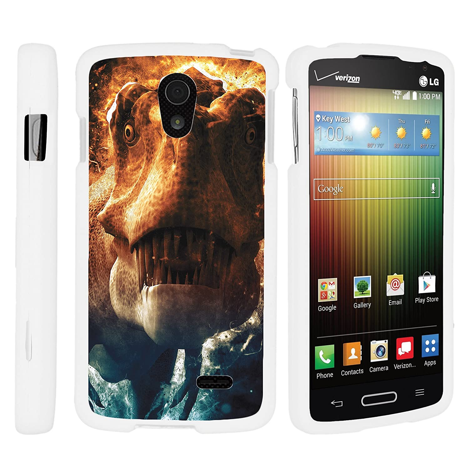 Amazon.com: MINITURTLE Case Compatible w/LG Lucid 3 VS876 White Phone Case, Snap on Cell Phone Protector Dinosaur Design Fierce Predator: Cell Phones & ...