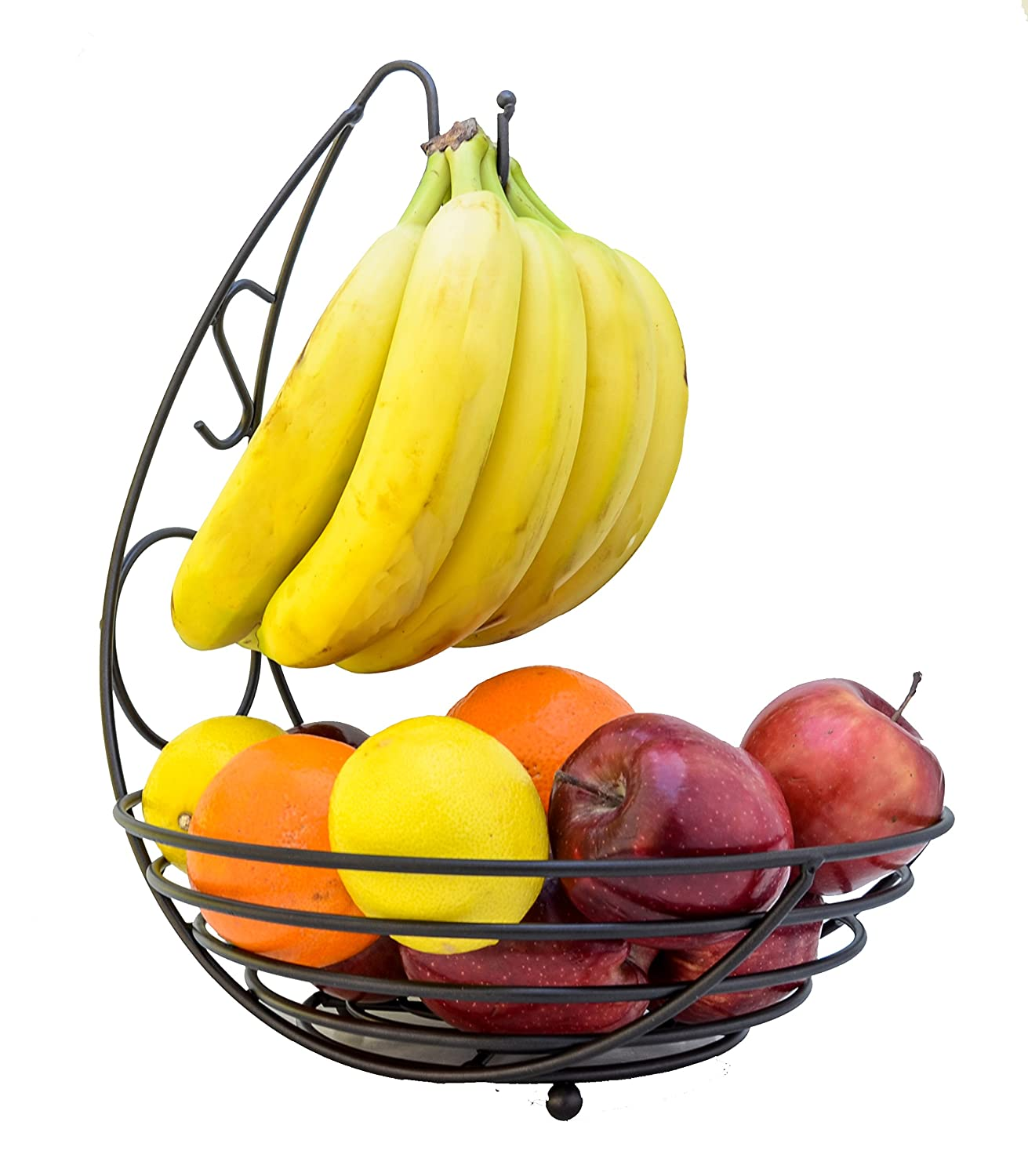 Premium Heavy-Duty Metal Fruit Bowl Basket with Banana Hanger, Color: Black Maypes COMINHKPR122470