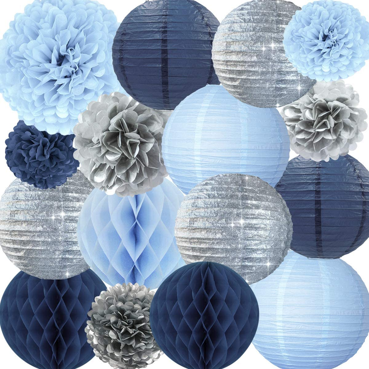 NICROLANDEE Frozen Theme Winter Wonderland Party Decoration - 16 Pcs Silver Glitter Paper Lanterns Honeycomb Balls Tissue Pom Poms for Kids Birthday Party Supplies Bridal Shower Wedding Decor
