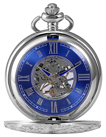 KS Reloj de Bolsillo con Cadena Hombres antiguos Steampunk Esqueleto Mecánico con Caja de Regalo color Plateado KSP071: Amazon.es: Relojes