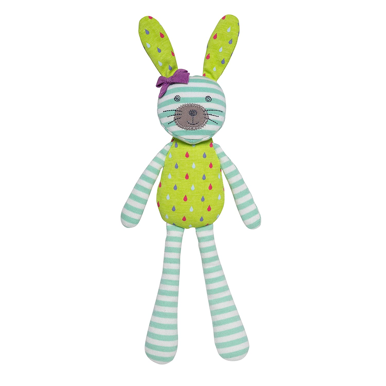 Apple Park Organic Farm Buddies - Spring Bunny Turquoise Stripe and Tear Drop Print Plush Baby Toy for Newborns, Infants, Toddlers - Hypoallergenic, 100% Organic Cotton